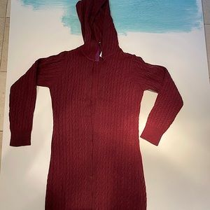 100% cashmere burgundy long hoodie new